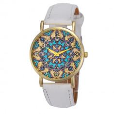 NOU Ceas de dama alb cu cadran auriu albastru imprimat oriental curea piele eco - Ceas dama Geneva, Fashion, Quartz, Metal necunoscut, Piele - imitatie, Analog