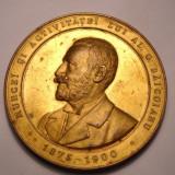 Jubileul Societatii Creditul Funciar din Bucuresti 1900 BRONZE DORE Model Rar - Medalii Romania