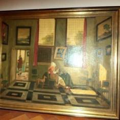 Superb tablou antic pictat in ulei pe panza semnat interior - Pictor strain, Portrete, Realism