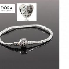 Bratara PANDORA placata cu argint 925+charm inima cadou (19, 21 cm) - Bratara argint pandora, Femei