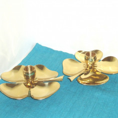 Pereche sfesnice alama Art Deco, placate cu aur 24K - design Ernst Dragsted DK - Metal/Fonta
