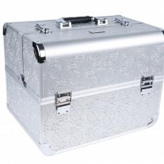Geanta Cosmetica Beauty Case pentru manichiura, machiaj, truse farduri, argintie - Geanta cosmetice
