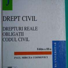 Carte Drept civil - HOPCT DREPT CIVIL/DREPTURI REALE OBLIGATII CODUL CIVIL /COSMOVICI 1998/ 646 PAG