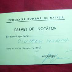 Brevet de inotator - Federatia Romana Natatie