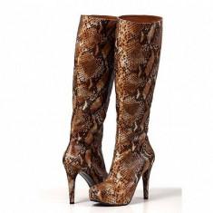 Cizme dama - Cizme din piele inalte cu platforma detalii piele de sarpe