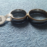 Pereche verighete inele inox cu auriu - Inel inox