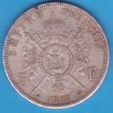 (1) MONEDA DIN ARGINT FRANTA - 5 FRANCS 1867, LIT. A, 25 GRAME, NAPOLEON III, Europa