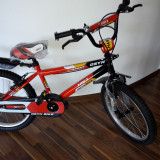 Bicicleta copii tip BMX cu roti de 20 inch - 7-10 ani - Bicicleta BMX, Numar viteze: 1, Otel, Negru-Rosu