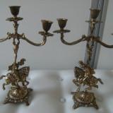 Metal/Fonta, Sfesnice - Superbe sfesnice pereche, alama aurita masiva, stil barok, lucrate deosebit, decor