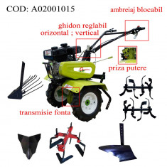 Gardelina Motocultor A02001015, 7 CP, freze, roti, prasitoare hoby, plug BG, plug cartofi, rarita fixa, 700-1000 mm