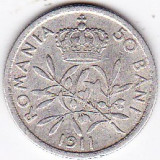 Monede Romania, An: 1911 - Carol I. 50 BANI 1911, argint (1)