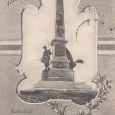 SALUTARI DIN TULCEA, MONUMENTUL COMEMORATIV AL ALIPIRII DOBROGEI, CIRCULAT '908 - Carte Postala Dobrogea pana la 1904, Circulata, Printata