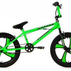 Bicicleta bmx freestyle cadru cobalt si roti pe 20 inch magneziu verde neon, Numar viteze: 1