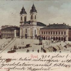 Romania, Arad carte post. circulata 1901:Piata Tokoly, magazine evreiesti, animat - Carte Postala Crisana pana la 1904, Fotografie