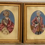 Tapiterie Goblen - Set 2 tablouri goblen vechi de colectie, rama marosvasarhely