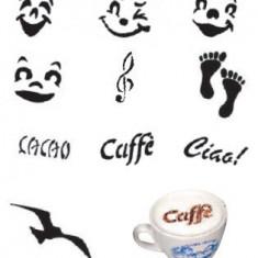 Set 10 modele plastic pentru decorare cappuccino si mini-torturi, Ø 10 cm