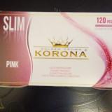 Foite tigari - Tuburi pentru injectat tutun Korona Full Pink slim, 120 buc/ 3.5 lei.