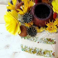Ornamente Craciun - Aranjament vas ceramic cu pietricele