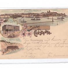 CARTE POSTALA ROMANIA-LITHO CONSTANTA-1899-CIRCULATA - Carte Postala Dobrogea pana la 1904, Printata