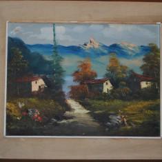 Tablou autor neidentificat, An: 1924, Peisaje, Ulei, Altul - Frunos tablou pictat pe panza in ulei semnat