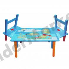 Masuta/scaun copii - Masuta si scaune pentru copii - imprimeu cu delfini si vaporase