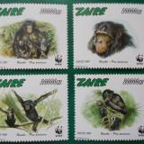 Zair 1997 14 Euro fauna protejata wwf maimute - serie nestampilata MNH