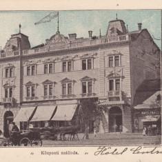 ARAD, SALUTARI DIN ARAD, HOTEL CENTRAL, TRASURI, CLASICA, CIRC. APR. 1901 - Carte Postala Crisana pana la 1904, Circulata, Printata