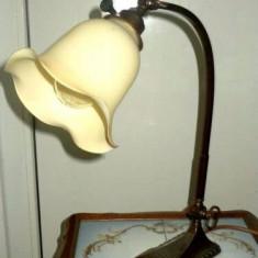 Lampa inedita antica de birou in stilul Art-Nouveau din antimoniu