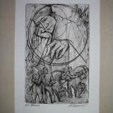 "Tablou, Abstract, Carbune, Abstract - GRAVURA, MARCEL CHIRNOAGA ""ERASMUS"""