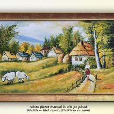 Viata la tara (2) - pictura peisaj rural, ulei pe panza cu rama, 57x37cm