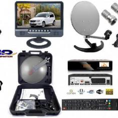 Sistem complet satelit - Antena+televizor 23cm pentru Camping, Rulota- 12 v