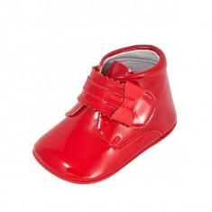 Ghete copii - Ghetute rosii cu fundita din lac 17 (10 cm) Leon Shoes
