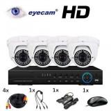 Camera CCTV - Kit supraveghere AHD cu 4 camere 1MP si DVR Eyecam EC-AHDKIT5009