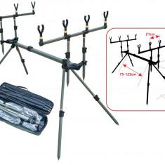 Rod pod Pescuit - Rod Pod Baracuda #4 Pentru 4 Lansete Picioare Ajustabile + Geanta Transport