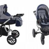 Carucior copii 3 in 1 - Carucior 3 in 1 Holland Silver W2 (Gri cu Albastru) Bebetto
