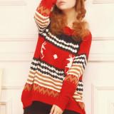 Bluza dama - BL218-3 Bluza groasa tricotata cu imprimeu de Craciun