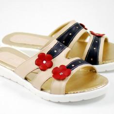 Sandale dama - Papuci dama din piele naturala cu platforma joasa - cod ROV21S