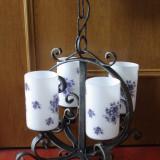 Lampa de tavan / Candelabru cu 4 abajururi din fier forjat - model deosebit !!!!