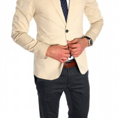 Sacou tip Zara Man crem casual - sacou barbati - sacou bumbac cod 6329
