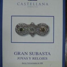 Carte Istoria artei - Bijuterii si ceasuri, Catalog Licitatii Castellana, Madrid 5 Noembrie 1998