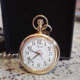 Ceas de buzunar placat cu aur de 18 k