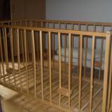 Patut lemn natur pentru 0-12 luni 125/ 65 cm - Patut lemn pentru bebelusi, 0-6 luni, 120x60cm, Maro
