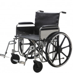 Carucior handicap otel cromat pentru persoane supraponderale 200 Kg Ortomobil 04010B-51 - Scaun cu rotile