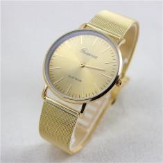 Ceas unisex model tip GENEVA clasic auriu bratara metalica + cutie simpla cadou - Ceas dama