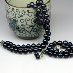 Set perle negre de cultura, de apa sarata: colier, bratara si cercei - Set bijuterii handmade si fashion