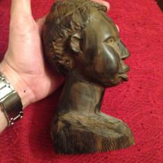 Sculptura, Lemn, Africa - STATUIE AFRICANA - LEMN ABANOS -Cap de barbat african -Sculptata manual -Vintage