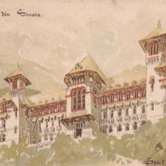 SOUVENIR DIN SINAIA, HOTEL CARAIMAN, CIRCULATIE MILITARA GERMANA - Carte Postala Muntenia pana la 1904, Circulata, Printata