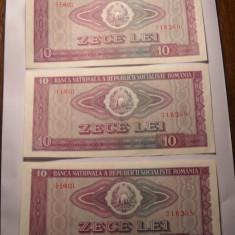 Lot 3 bancnote 10 lei 1966 UNC Serii Consecutive
