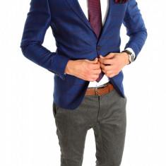 Sacou tip Zara Man albastru in carouri sacou barbati - sacou casual 6412, Marime: 54, Culoare: Din imagine