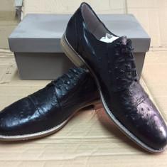 Pantofi PIELE NATURALA san marina marime 45 negru - Pantofi barbati